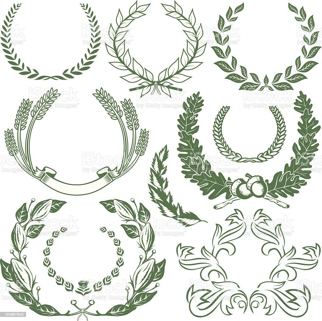 Design Elements - Laurels & Wreaths vector art illustration