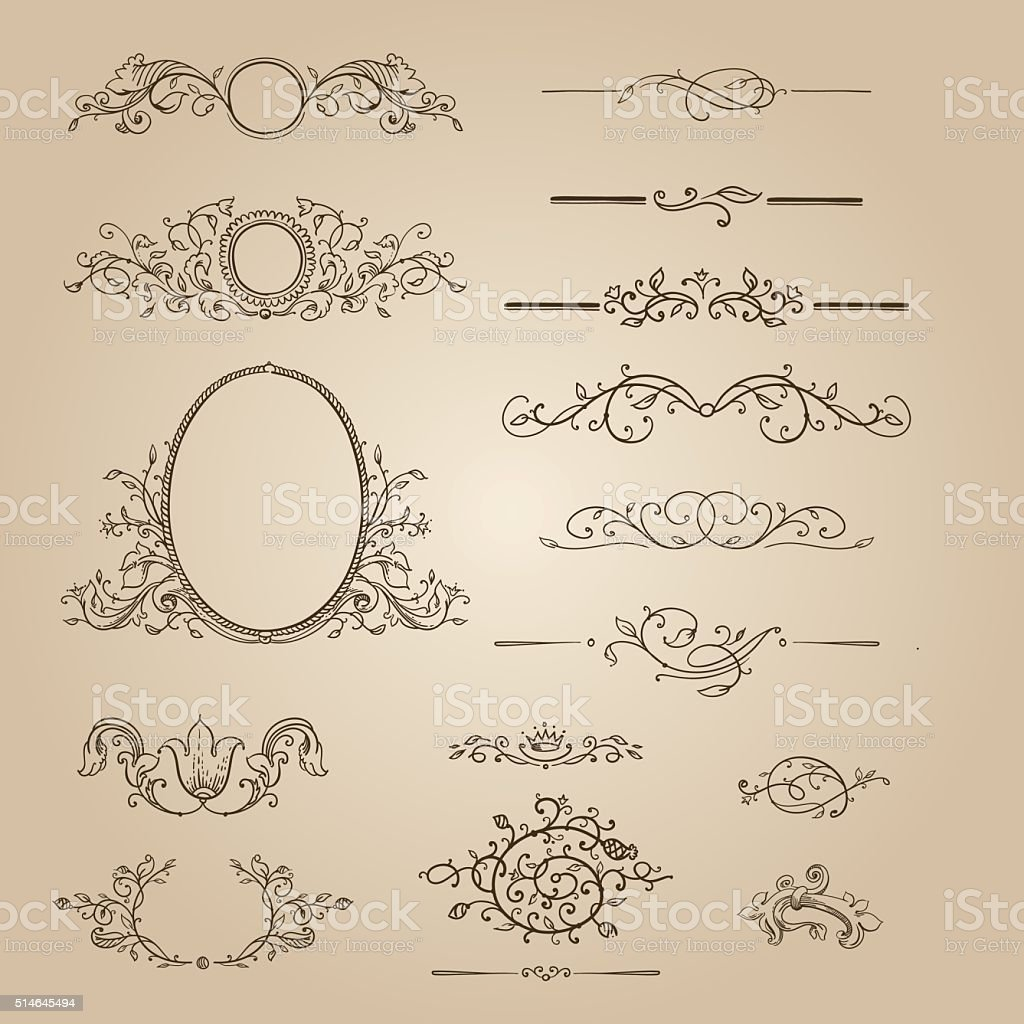 design elements, ornate frames & monogram vector art illustration