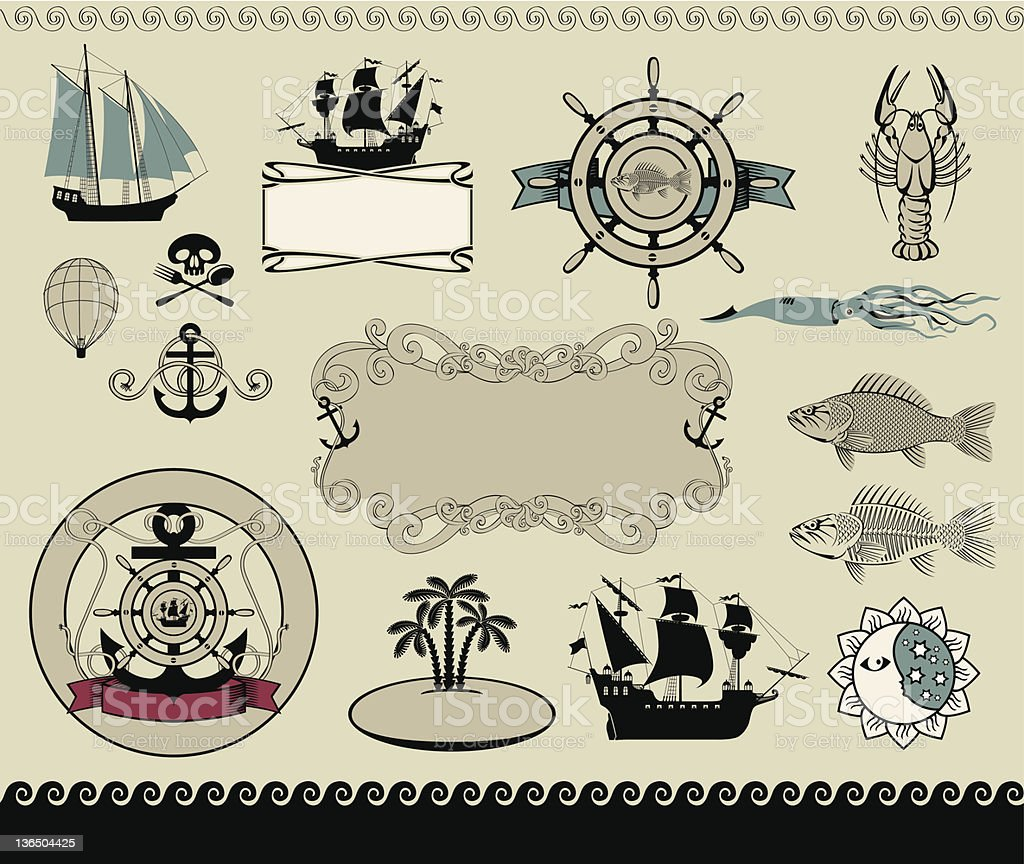 design elements to the marine theme royalty-free stock vector art