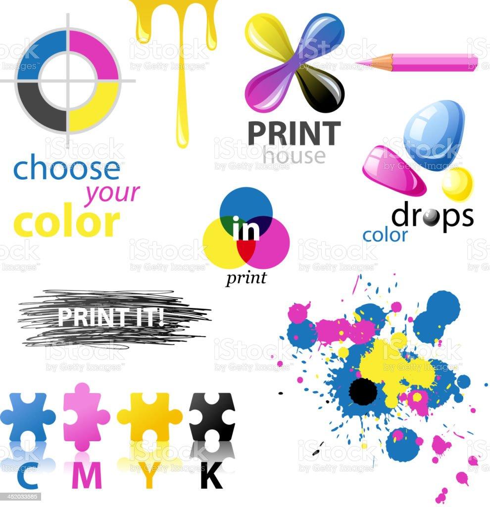 CMYK design elements vector art illustration