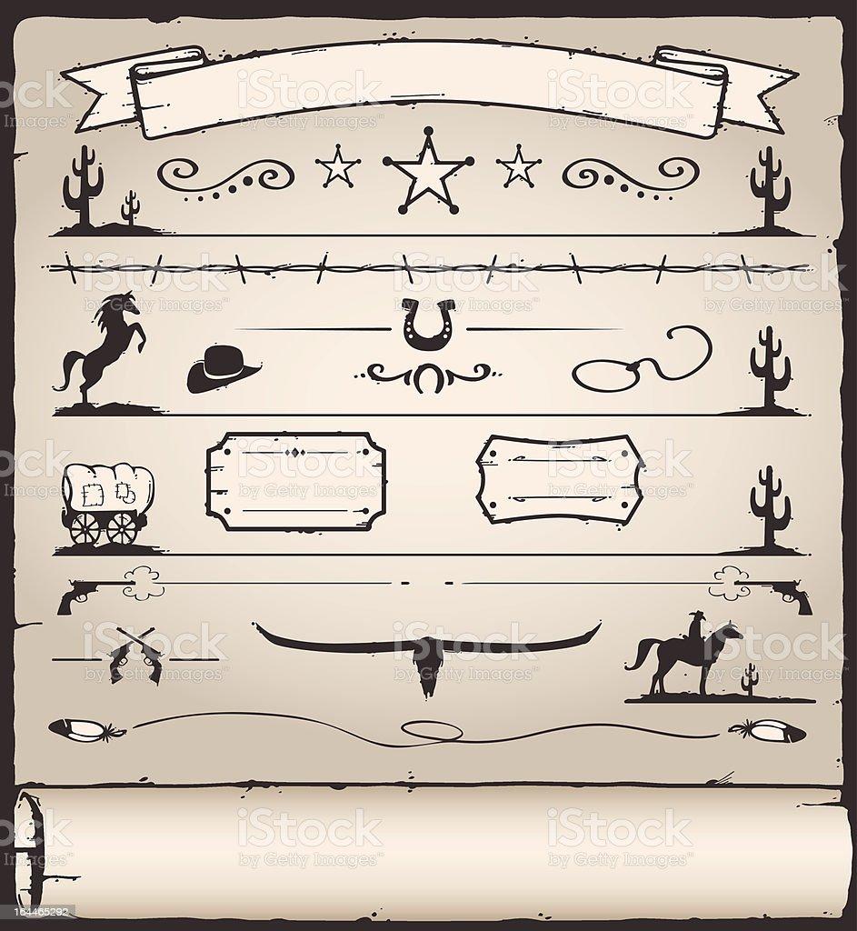 Design Elements Wild West vector art illustration