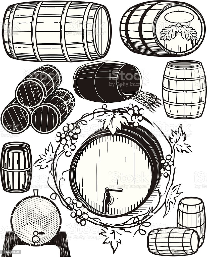 Design Elements - Wooden Barrels vector art illustration