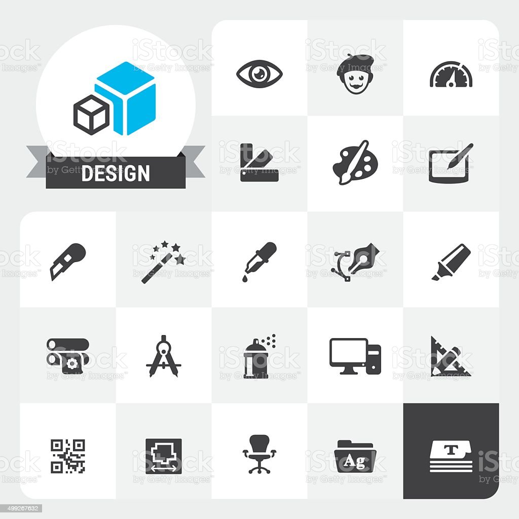 Design Equipment base vector icons and label vector art illustration