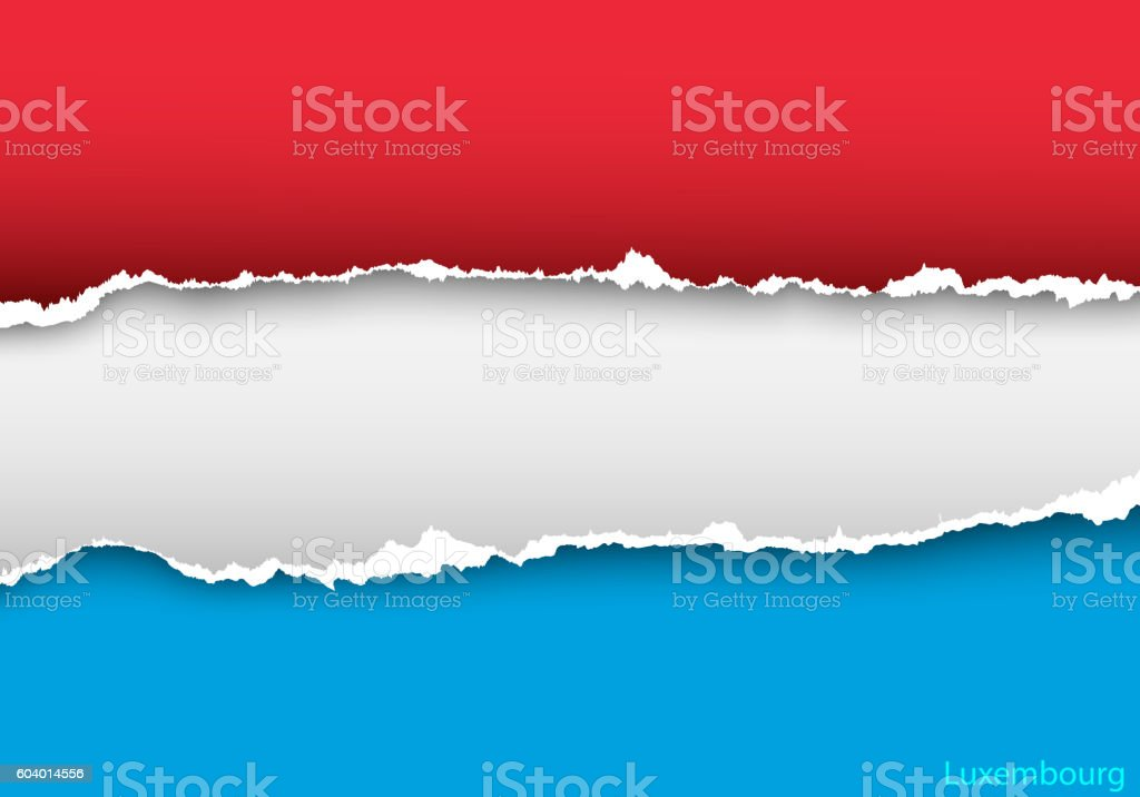 design flag luxembourg from torn papers with shadows vector art illustration
