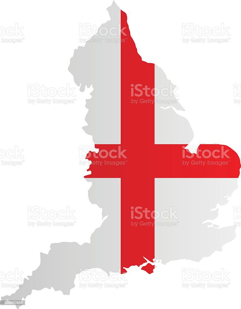 Design Flag-Map of England vector art illustration