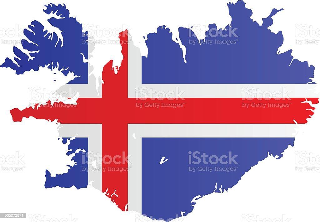 Design Flag-Map of Iceland vector art illustration
