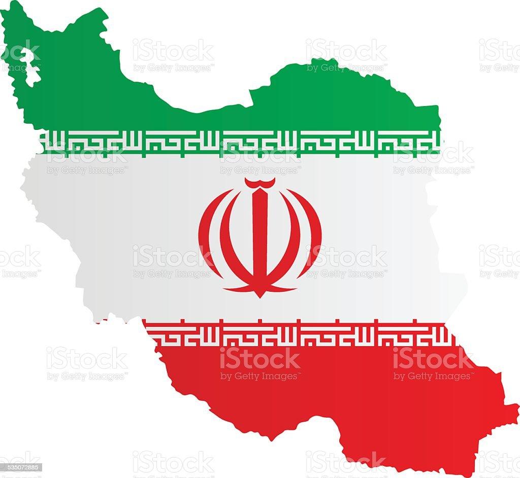 Design Flag-Map of Iran vector art illustration