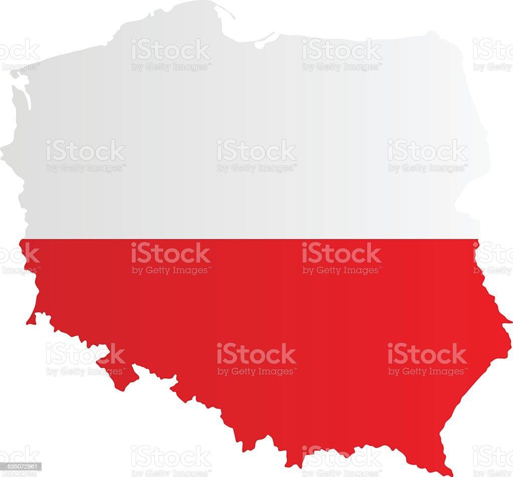 Design Flag-Map of Poland vector art illustration