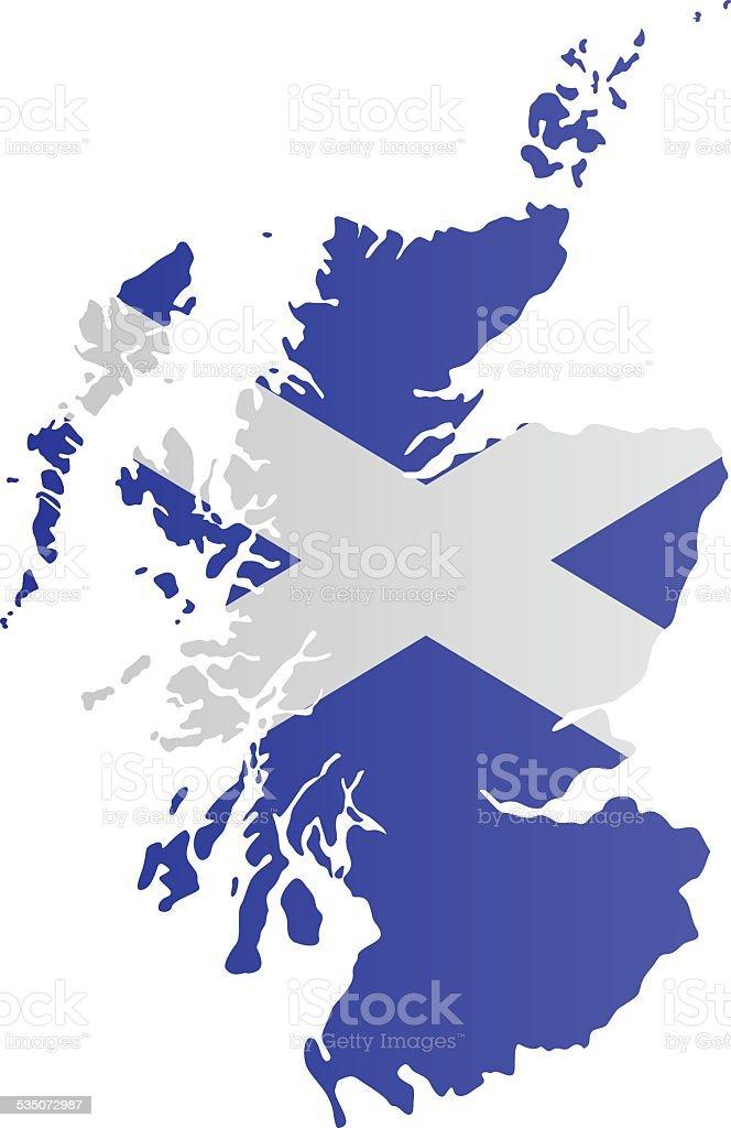 Design Flag-Map of Scotland vector art illustration