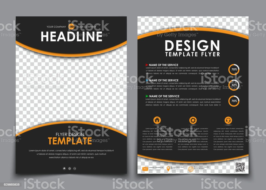 Design flyers black with orange elements. Brochure templates wit royalty-free stock vector art