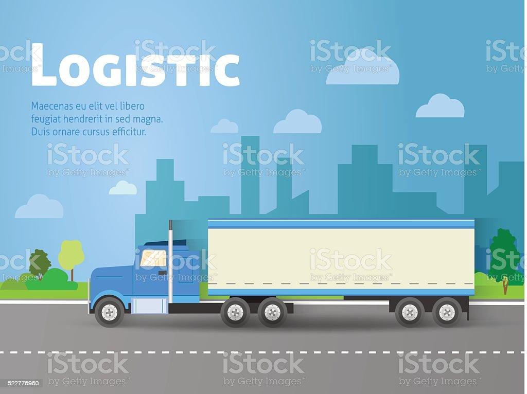 Design for banner, truck. Color flat icons. Dump truck, tank vector art illustration