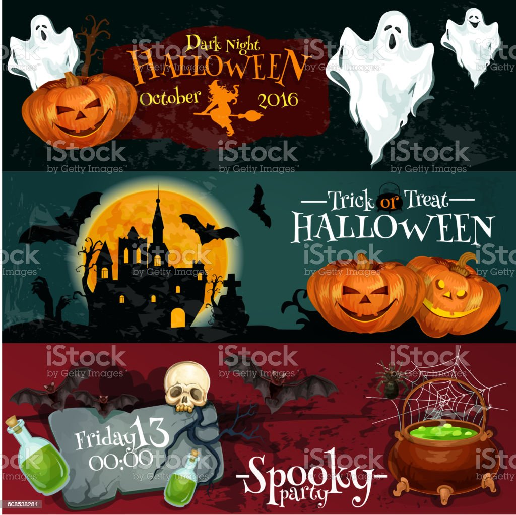 Design for Halloween signboards and posters vector art illustration