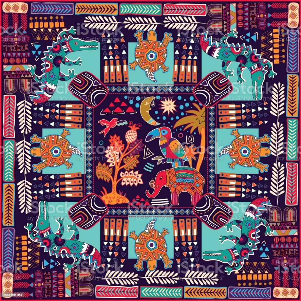 Design for shawl, card, textile. Colorful illustration with decorative animals and geometric elements. Indian motive. vector art illustration