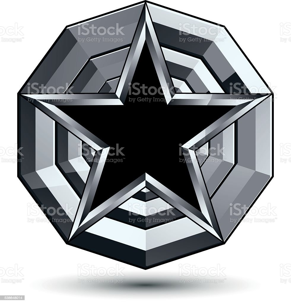 Design geometric symbol, stylized pentagonal black star vector art illustration