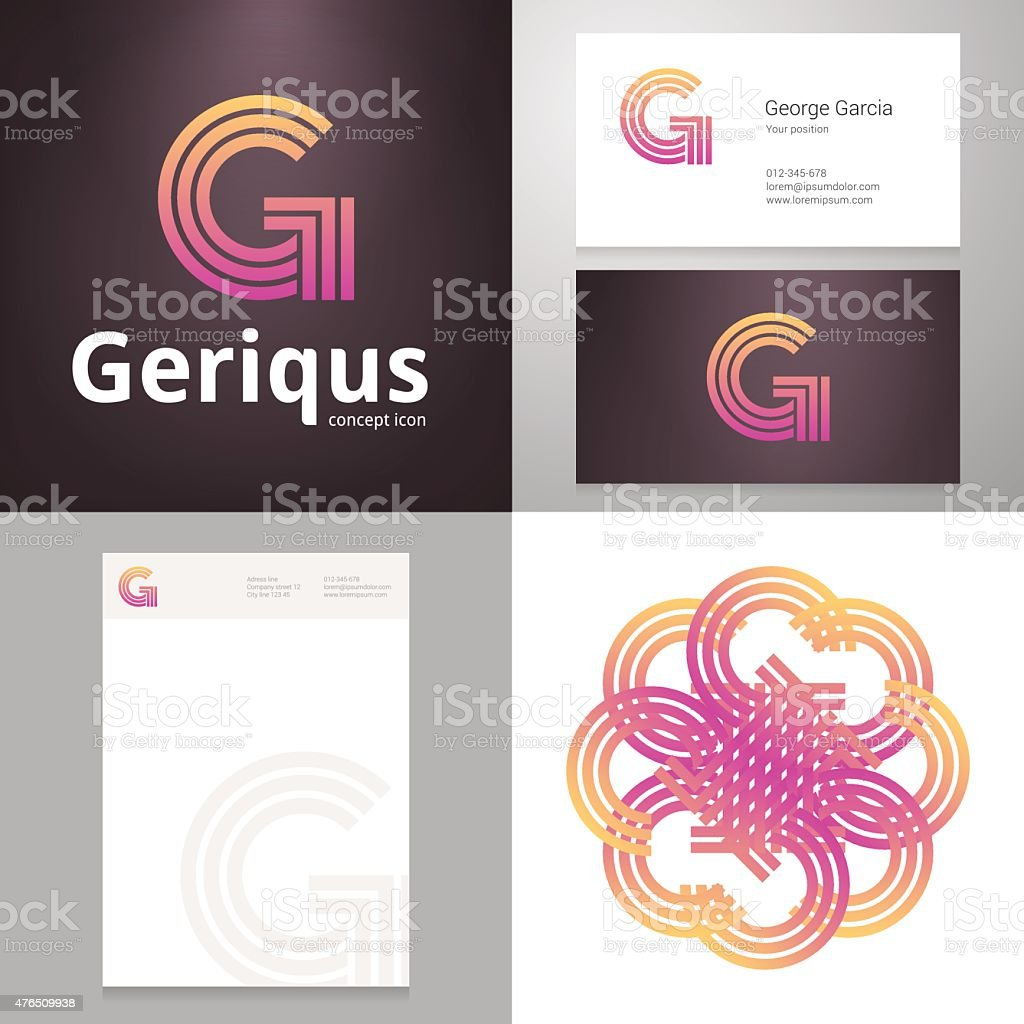 Design icon G element with Business card and paper template vector art illustration