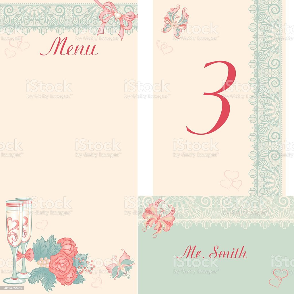 Design in the retro-style menu, table number, banquet cards for vector art illustration