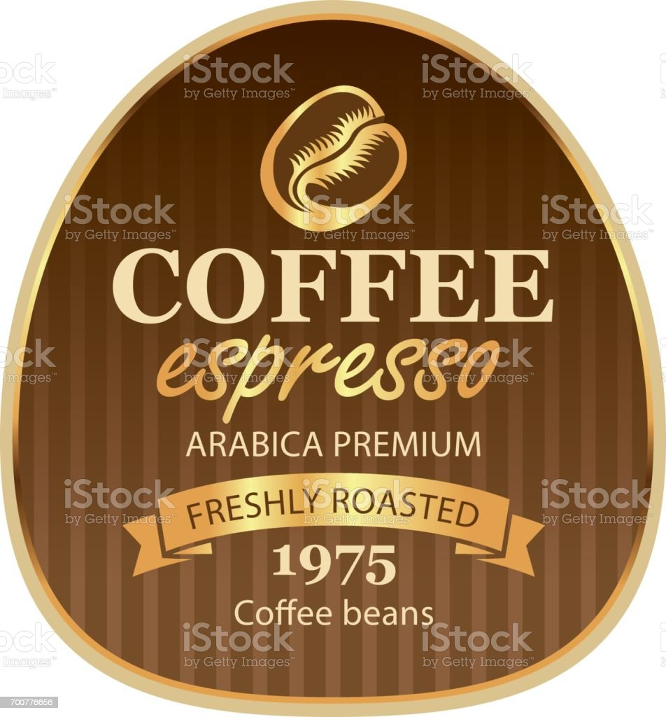 design label for coffee beans in Baroque style vector art illustration