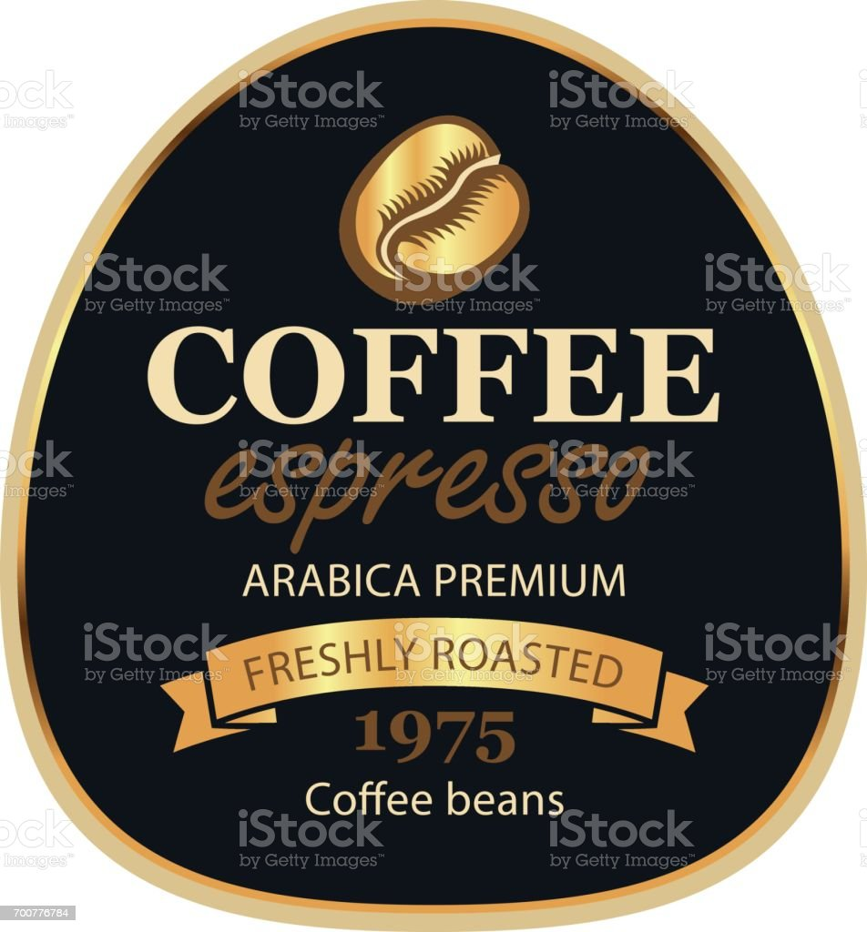 design label for coffee beans in retro style vector art illustration