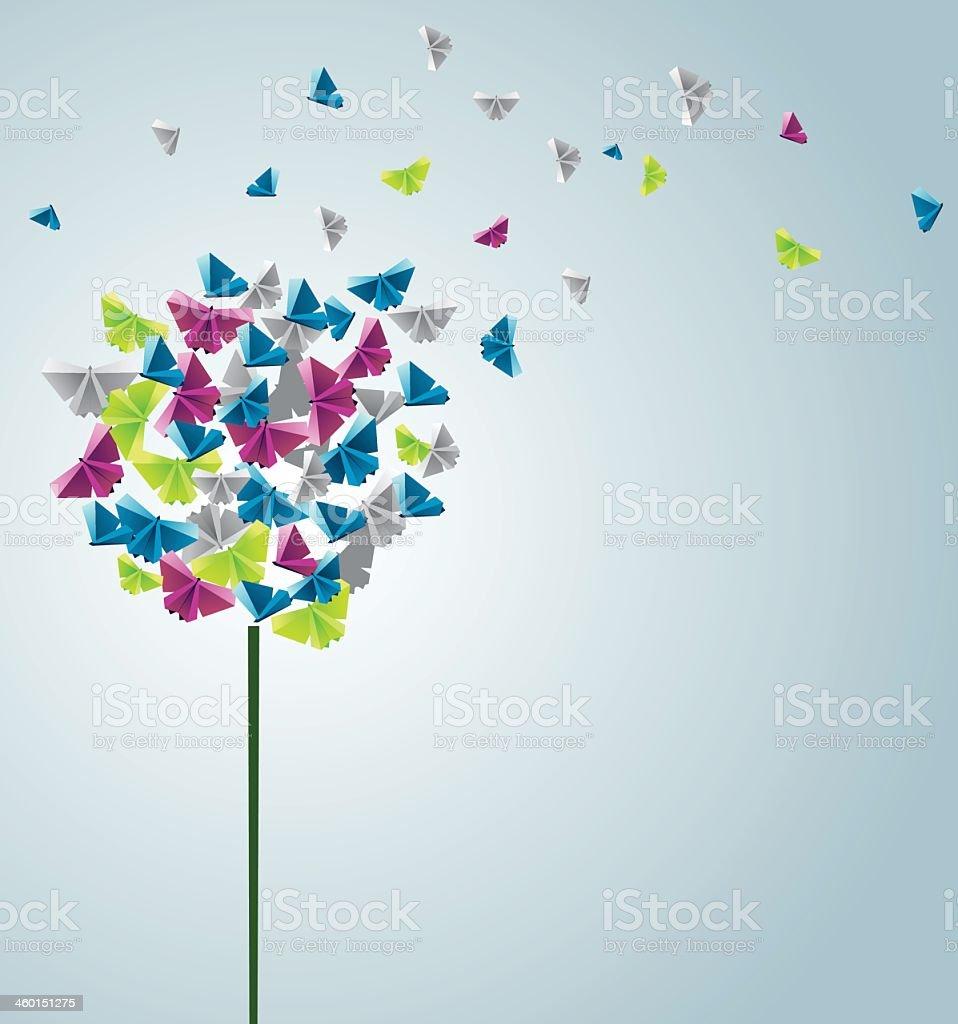 Design of butterflies forming a flower vector art illustration