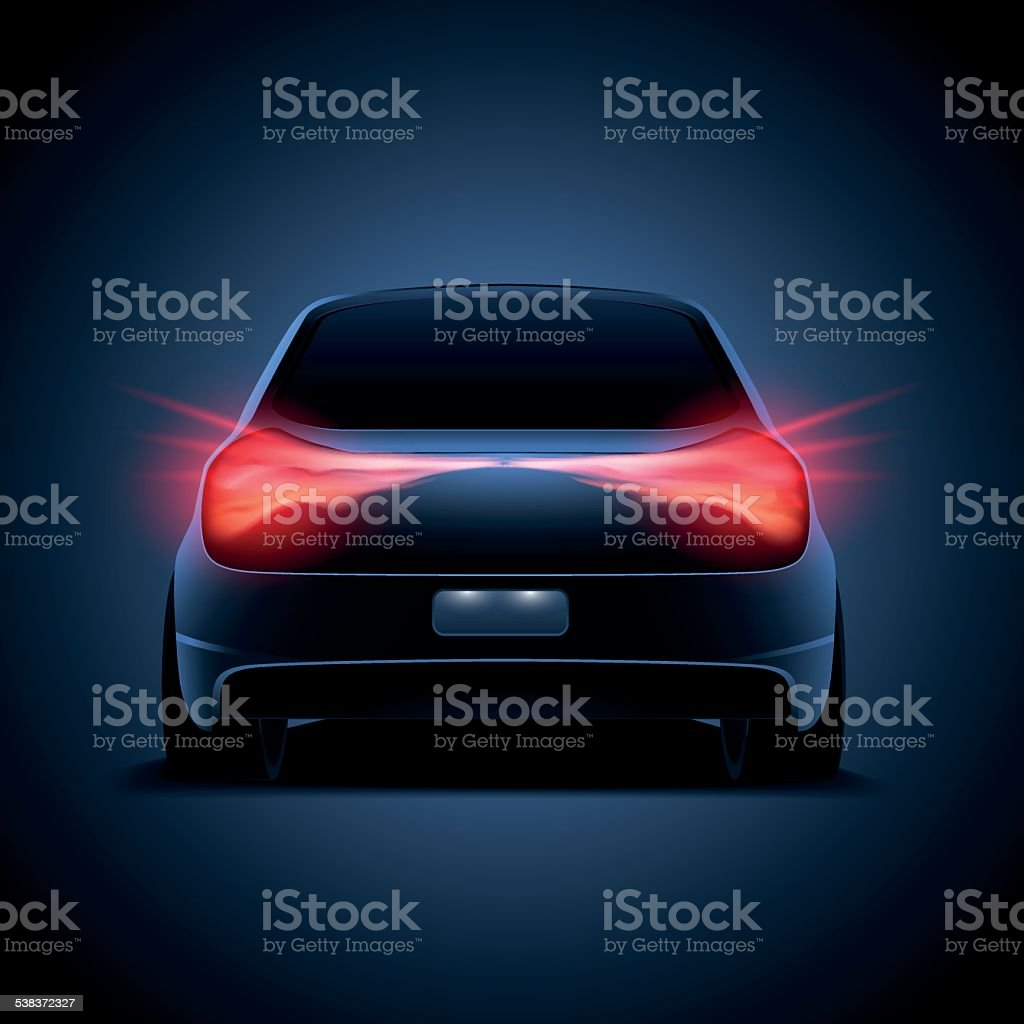 Design of car silhouette with red parking lights on, truck vector art illustration