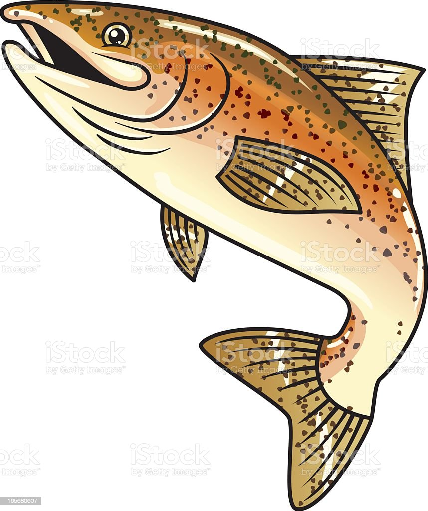 Design of cartoonish brown spotted trout on white background vector art illustration