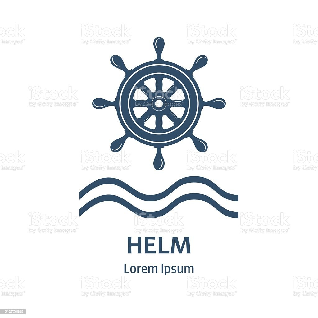 Design of icon with nautical helm vector art illustration
