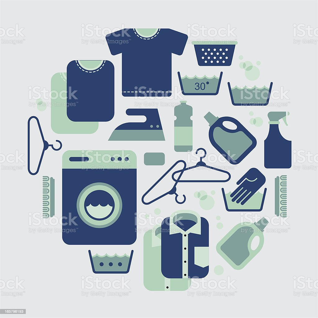 Design of laundry icons arranged in a circle in blue & green vector art illustration