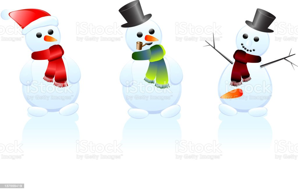 Design of three snowman with different attributes stock photo