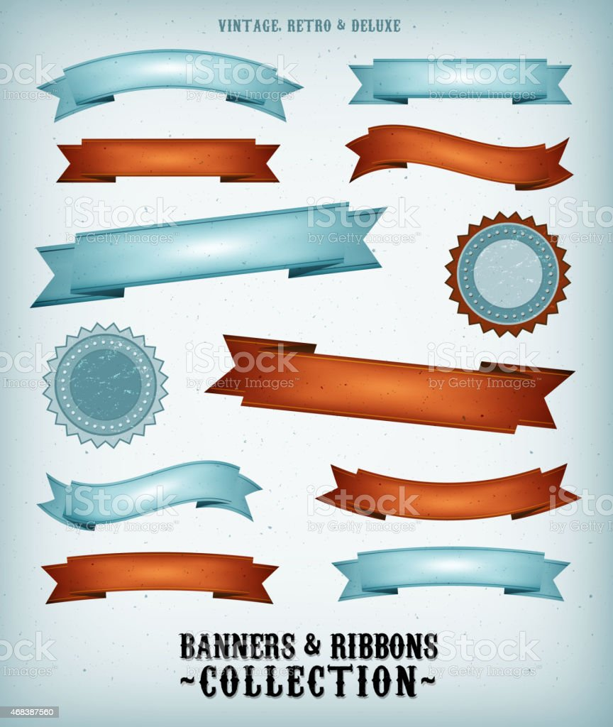A design of vintage, retro and deluxe banners  vector art illustration