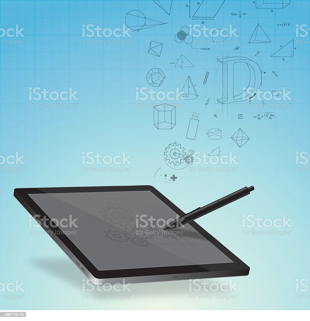 Design on graphic tablet royalty-free stock vector art