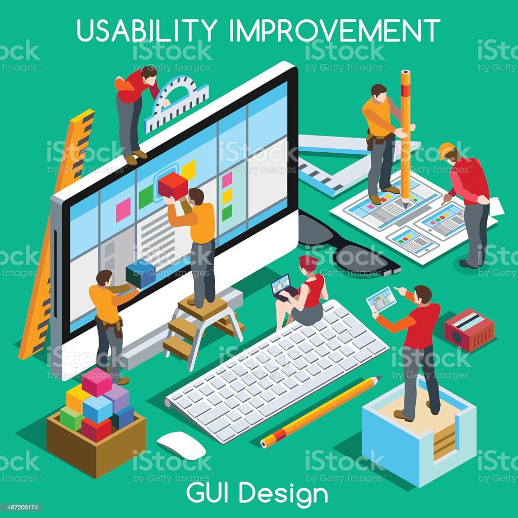 GUI UX Design People Isometric. Jpg. Jpeg. Eps. Vector. vector art illustration