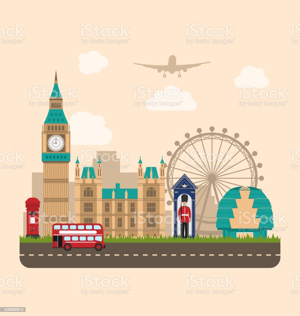 Design Poster for Travel of England. Urban Background vector art illustration