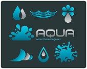 Design set of water signs on dark background