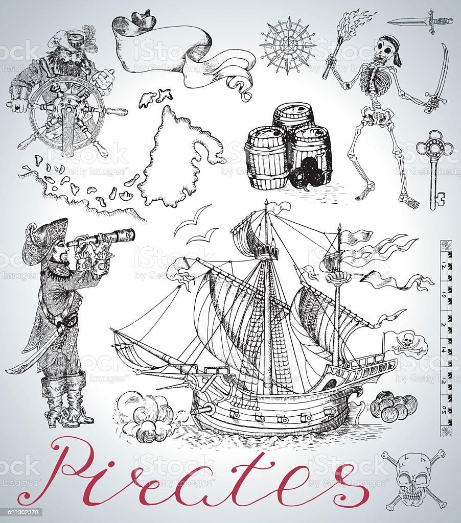 Design set with pirates, ship, skeleton and vintage sea symbols vector art illustration