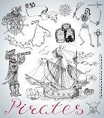 Design set with pirates, ship, skeleton and vintage sea symbols