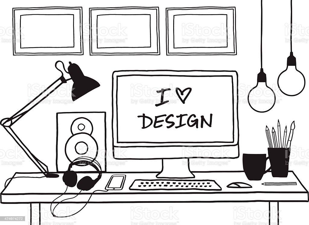 design studio mock up, vector vector art illustration