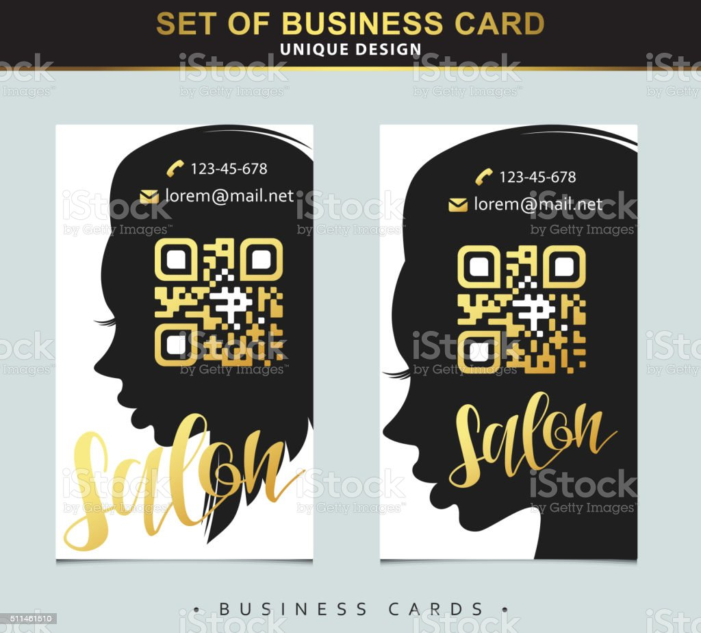 Design Template business card for beauty salon with qr code vector art illustration