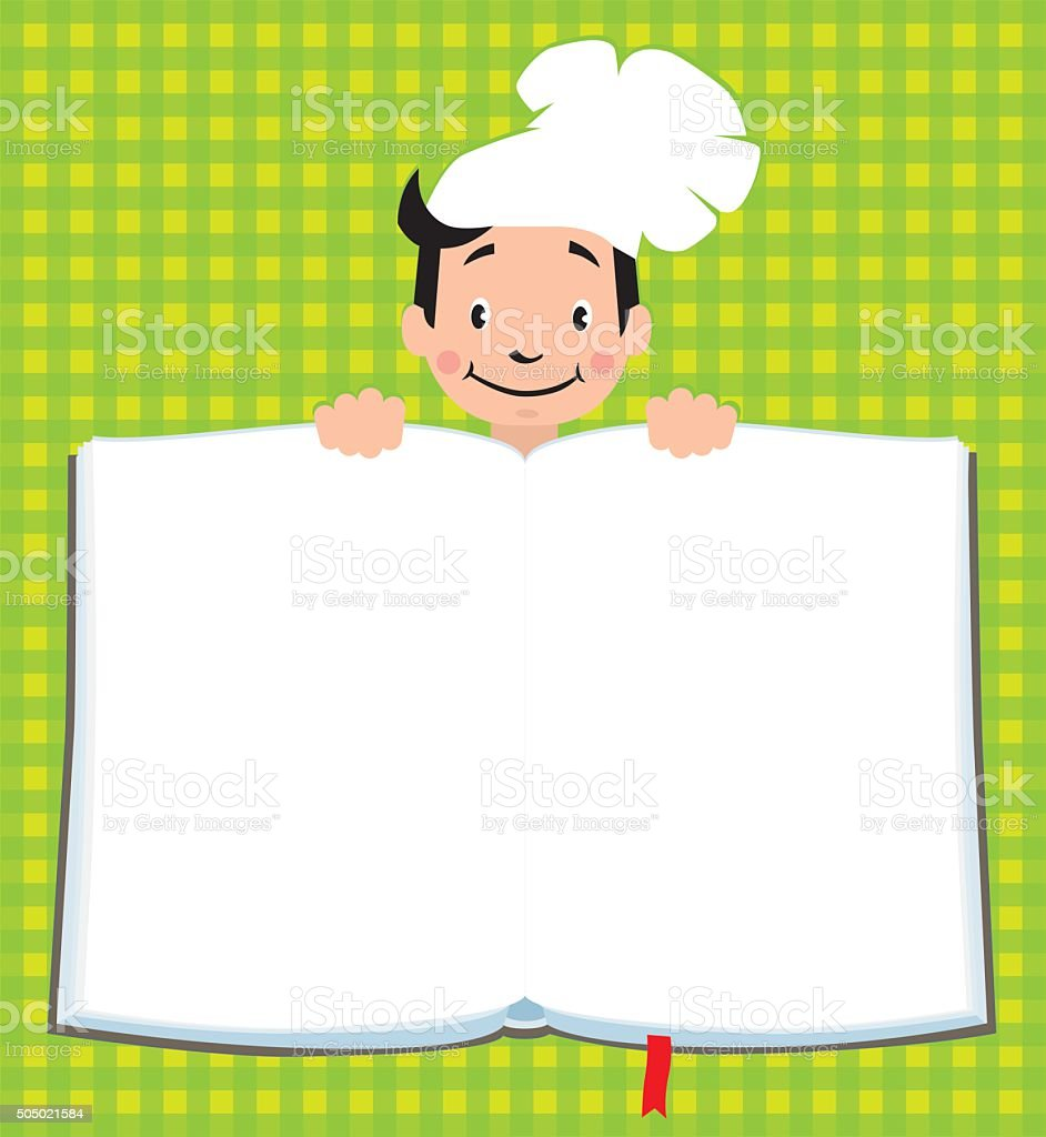 Design template for Kids Menu with funny cook boy vector art illustration