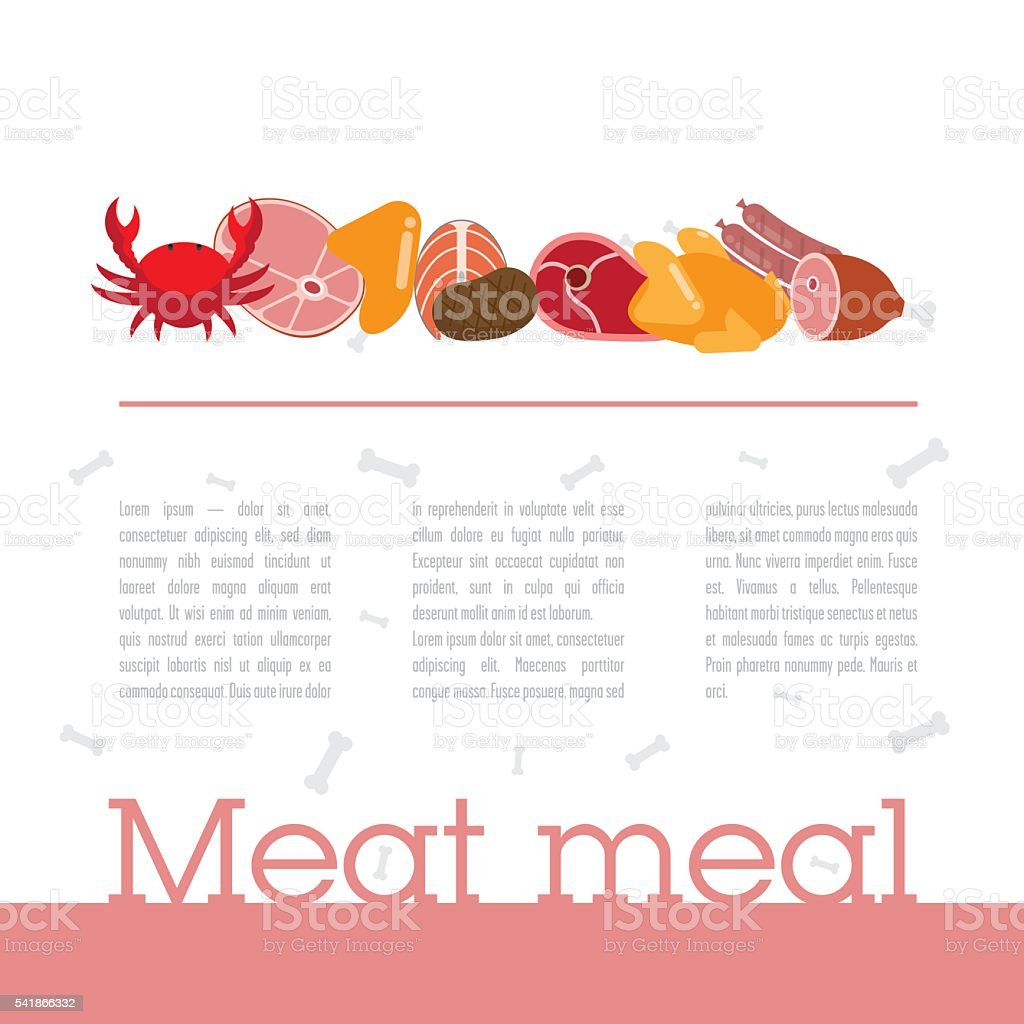 Design template with meat theme page vector art illustration