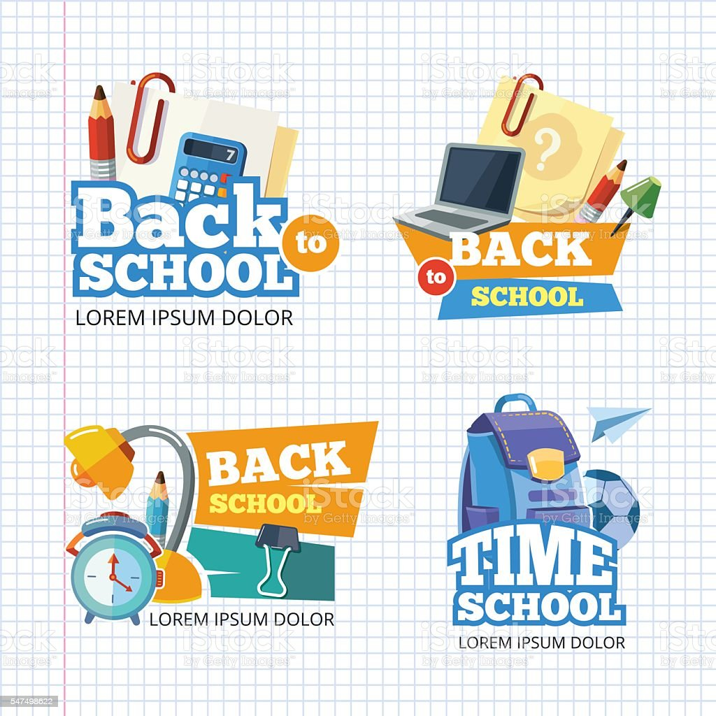 Design template with vector school emblem sets. vector art illustration