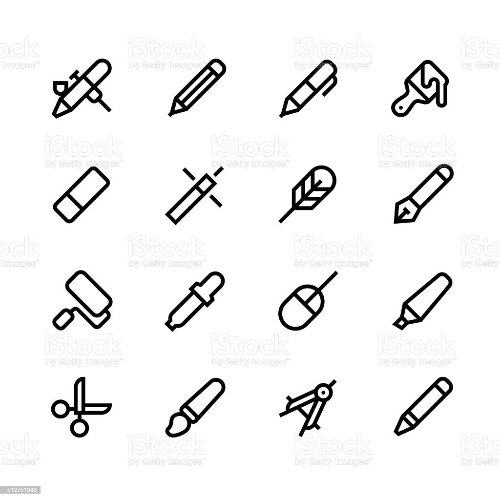 Design tools icons - line - black series vector art illustration
