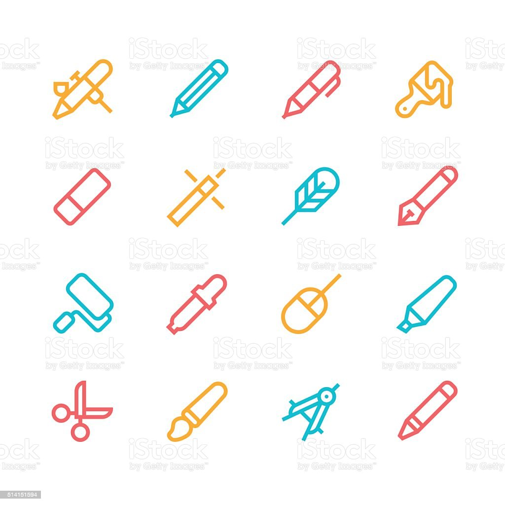 Design tools icons - line - color series vector art illustration