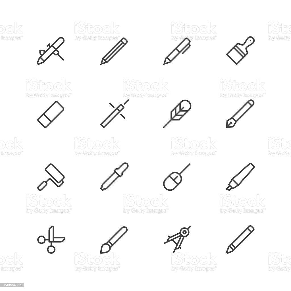 Design tools icons vector art illustration