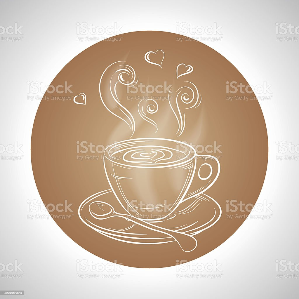 Design with cup of coffee and place for text royalty-free stock vector art