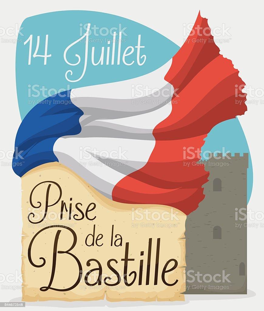 Design with French Flag, Scroll and Fortress for Bastille Celebration vector art illustration