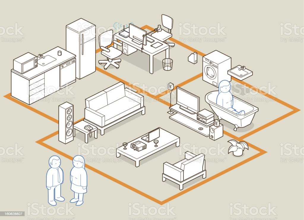 design your home / office vector art illustration