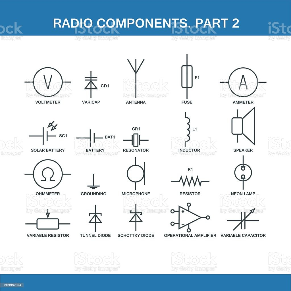 designation of components in the wiring diagram vector art illustration