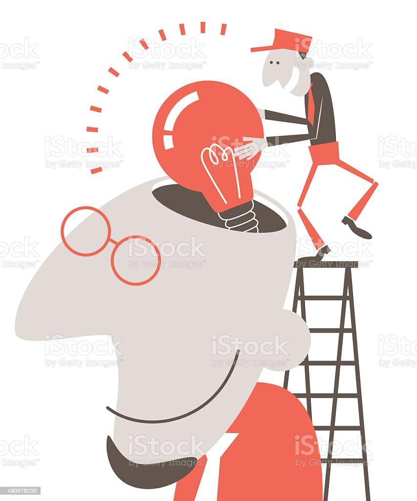 Designer head open, man on ladder putting idea bulb into vector art illustration