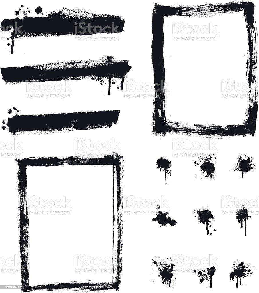 Designer Vector Element Collection - Banner Border Paint Spalter Set vector art illustration