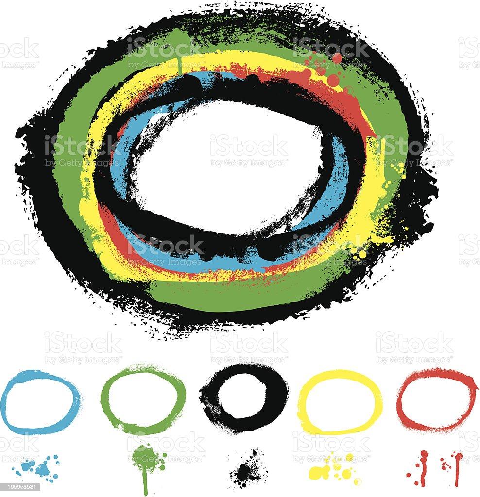 Designer Vector Element Series: Painted Circle Texture Grunge Border royalty-free stock vector art